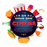 Round frame with cinema symbols. Vector illustration isolated on white background. Round frame with cinema symbols - popcorn bucket, ticket, 3d glasses, cup of Stock Images