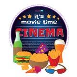 Round frame with cinema symbols. Vector illustration isolated on white background. Round frame with cinema symbols - ticket, 3d glasses, ice cream, bottle Stock Images