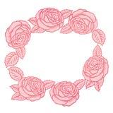 Round frame - classic retro roses Stock Image