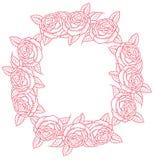 Round frame - classic retro roses Stock Photos