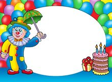 Round frame with clown and balloons. Color illustration Stock Photos
