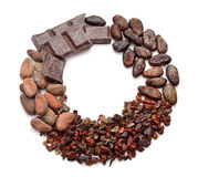 Round Frame with Cocoa products (Beans, nibs, chocolate) Stock Photos