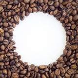 Round frame of coffee beans Royalty Free Stock Photo
