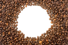 Round frame of coffee beans. On white background Stock Photo