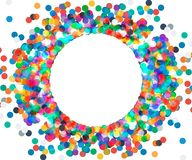 Round frame of colored confetti Stock Photos