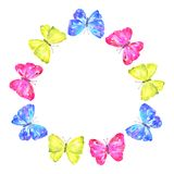 Round frame. Colorful butterflies: yellow, pink, blue. Hand drawn watercolor illustration. Isolated on white background. stock illustration