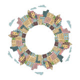 Round frame with colorful doodle city buildings. Stock Image