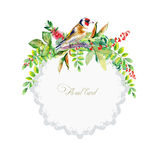 Round frame of colorful watercolor  goldfinch and some leaves, b Stock Photo