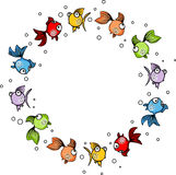 Round frame with colouful fishes Stock Photos