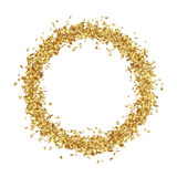 Round Frame Consists from Golden Asterisks. On White Background - Golden Confetti Stars Border royalty free illustration