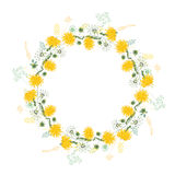Round frame with contour dandelions and herbs on white. Royalty Free Stock Photography