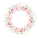 Round frame with contour tulips and stylized roses Stock Photo