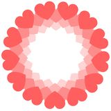 Round frame of coral hearts. Valentine`s day greeting card or wedding invitation stock image