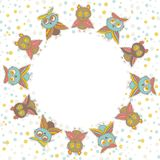 Round frame Cute characters Cartoon owls and owlets birds sketch doodle beige orange blue green red isolated on white background. Vector illustration Stock Image