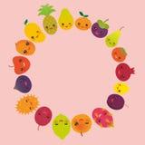 Round frame cute funny kawaii fruit Pear Mangosteen tangerine pineapple papaya persimmon pomegranate lime apricot plum dragon frui Stock Images