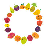 Round frame cute funny kawaii fruit Pear Mangosteen tangerine pineapple papaya persimmon pomegranate lime apricot plum dragon frui Royalty Free Stock Photos