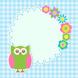 Round frame with cute owl and flowers Stock Image