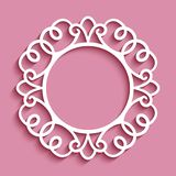 Round frame with cutout paper border pattern. Round frame with swirly ornamental border, cutout paper circle pattern, template for laser cutting or plotter vector illustration