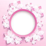 Round frame with 3d pink sakura, greeting card. Beautiful trendy round frame with 3d white-pink flowers sakura - japanese cherry tree. Greeting or invitation Stock Photography