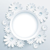 Round frame with 3d white chamomile, greeting card Stock Photo