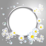 Round frame and daisy stock illustration