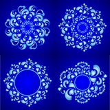 Round frame. Dark blue background, round frame , floral pattern , circle pattern , vector illustration Royalty Free Stock Photography