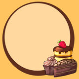 Round frame decorated cake with strawberries and chocolate cupcakes. The design of the cards. Bright vector illustration vector illustration