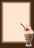 Round frame decorated with a chocolate milkshake with a cherry. The design of the cards. Bright vector illustration royalty free illustration