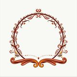 Round frame decorated with exquisite volumetric pattern royalty free illustration