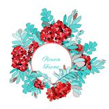 Round frame decorated with rowan-berries Stock Photo