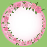 A round frame decorated with a wreath from gradually decreasing, increasing roses with leaves, wedding Stock Image