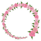 A round frame decorated with a wreath from gradually decreasing, increasing roses with leaves, wedding royalty free illustration