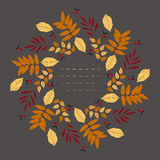 Round frame with decorative autumn leaves Stock Image
