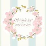 Round frame with delicate pink flowers Royalty Free Stock Photography