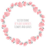 Round frame of delicate pink sakura cherry blossoms. Vector illustration for design Stock Image