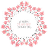 Round frame of delicate pink sakura cherry blossoms. Vector illustration for design Stock Photo