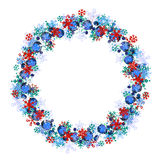 Round frame with different blue snowflakes. Royalty Free Stock Image