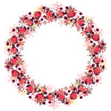 Round frame with different red snowflakes. Stock Photos