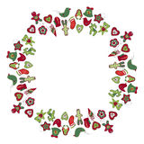 Round frame with different vintage Christmas decorations. Stock Photography