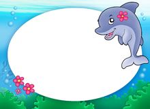 Round frame with dolphin girl. Color illustration Royalty Free Stock Photography