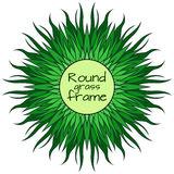 Round frame with doodle grass. Stock Photo
