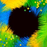 Round frame of feathers for the Brazilian carnival. The colors o. Poster for the carnival. Bright festive feathers in the color of the flag of Brazil Stock Image