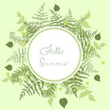 Round frame of fern with the words hello summer. Vector template. Round frame of fern with the words hello summer. Vector image vector illustration