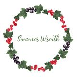 Round frame filled with red and black currant berries and leaves royalty free illustration