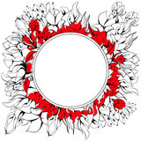 Round frame with floral element Royalty Free Stock Photo