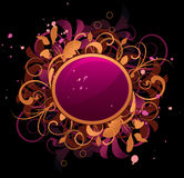 Round frame with floral elements Stock Image