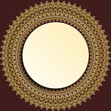 Nice Greeting Card. Round frame with floral elements and arabesques. Pattern with golden arabesques. Fine greeting card Royalty Free Stock Photo
