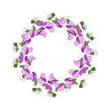Round frame with floral elements of sweet pea flowers and leaves stock illustration