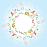 Round frame with floral elements - vector  Stock Image
