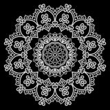 Round Frame - floral lace ornament - white on black background. Royalty Free Stock Photography